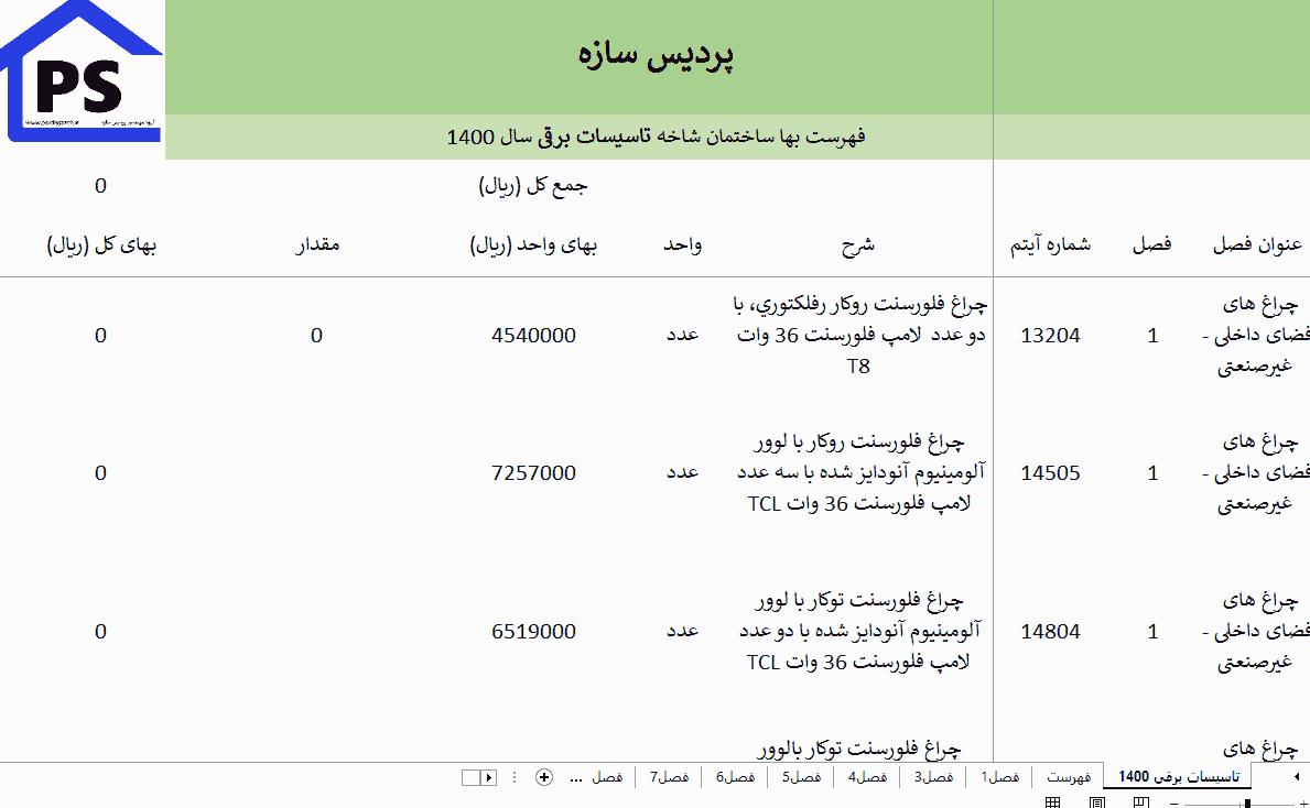 فهرست بهای ساختمان شاخه ی تاسیسات برقی